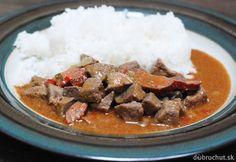 Fotorecept: Bravčová pečienka v pikantnej paradajkovej omáčke Curry, Menu, Ethnic Recipes, Food, Menu Board Design, Curries, Essen, Meals, Yemek