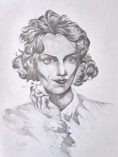 """Smoking Girl"", pencil on paper, 31x41cm, 2016"