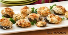 THREE CHEESE STUFFED MUSHROOMS are a party perfect appetizer of rich mushroom caps filled with ooey, gooey cheese!