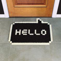 Hello 8-Bit Doormat Black