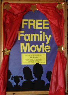 Movie Night bulletin board made with poster board and a dollar store table cloth