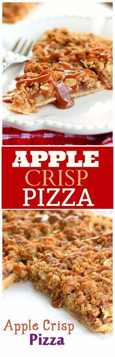 Crisp Pizza Apple Crisp Pizza - so easy! Apple Crisp toppings piled on a pie crust and baked! the-girl-who-ate-Apple Crisp Pizza - so easy! Apple Crisp toppings piled on a pie crust and baked! the-girl-who-ate- Mini Desserts, Fall Desserts, Just Desserts, Delicious Desserts, Yummy Food, Apple Desserts, Icebox Desserts, Apple Crisp Pizza, Apple Crisp Topping