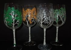 My love of Colorado and the aspen tree inspired me to paint this set of 4 all purpose 9 tall 19 oz. wine glasses. They depict the tree in each season, with the stem as the trunk of the tree. Each glass has the tree branches all around the glass. Unique and beautiful, I hand paint each glass so no two are exactly alike. Hand washable. I also offer this design in a smaller glass and individually. (please note that if the actual shipping cost is less that I have charged, I will refund the…