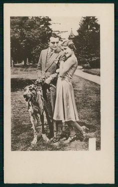 Lady Love Romance Couple Great Anglo-Francais Hound Dog old 1920s postcard