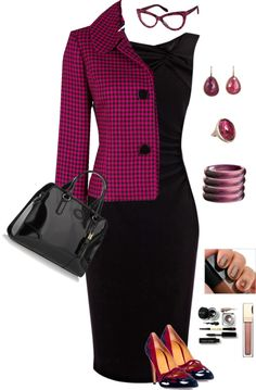 Black and pink work fashion attire Business Mode, Business Outfits, Business Attire, Business Fashion, Business Formal, Mode Outfits, Office Outfits, Office Wear, Fashion Outfits