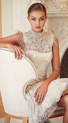 Gigi Hadid in a beautiful lace dress perfect for a Bridal Shower or Wedding Rehearsal.
