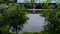 小さな石造りの庭園では、日本の寺 stock photo