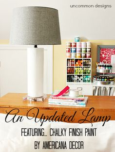 Updating a lamp with chalky finish paint by Americana Decor... love how it turned out!!  #sponsored