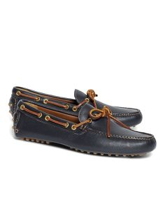 2a867c57d89 These comfortable laced cognac driving moccasins are made from genuine  leather. Features a leather lining