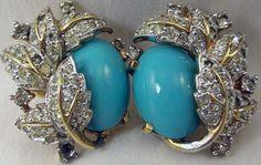 Mazer - Jomaz - Bijoux Vintage - Parure Broche et Boucles d'Oreilles 'Feuillage'