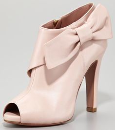 RED Valentino Leather Bow Peep-Toe Bootie, Petal Pink