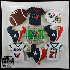 Houston Texans Logo Jersey Helmet Football Cookies Cookie Icing, Royal Icing Cookies, Cupcake Cookies, Cupcakes, Texans Baby Shower, Houston Texans Party, Football Sugar Cookies, Baby Shower Desserts, Wedding Cookies
