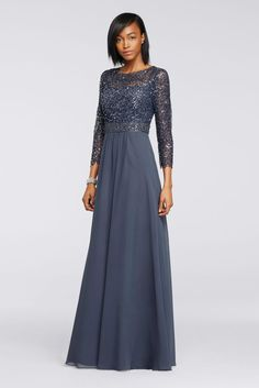 Sequin Lace Long Chiffon Mother of Bride/Groom Dress with 3/4 Sleeves - Steel (Blue), 18