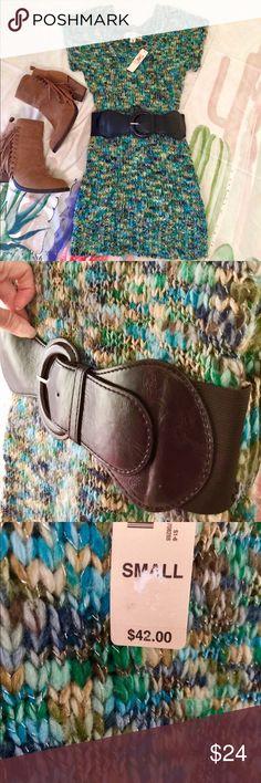 🌵Decree Sweater Dress NWT Decree Sweater Dress. Scoop neck. SZ S. Acrylic, machine wash. Beautiful green/blue colors.  ❤️ Bundle & Save ❤️ Decree Sweaters Crew & Scoop Necks