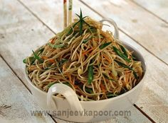 How to make Perfect Hakka Noodles - Noodles tossed with mixed vegetables and Chinese sauces and stir fried.