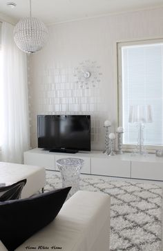 Black and White Living room Black And White Living Room, White Rooms, Home Living Room, Living Room Decor, Home Theater Design, House Inside, White Houses, Minimalist Living, White Decor