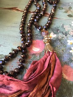 Shabby BoHo Holiday style hand knot glam brown gold unique style Czech crystal sari silk tassel jewelry by MarleeLovesRoxy Tassel Jewelry, Textile Jewelry, Fabric Jewelry, Wire Jewelry, Jewelry Art, Beaded Jewelry, Handmade Jewelry, Beaded Necklace, Jewelry Design
