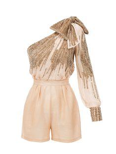 Embroidered one-shoulder jumpsuit in gold One Shoulder Jumpsuit, Unique Dresses, Rompers, Collection, Gold, Closet, Fashion, Stuff Stuff, Moda