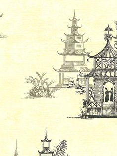 Pagoda Toile Wallpaper | AmericanBlinds.com