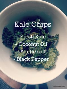 Why not make some simple + tasty Kale Chips | mutusystem.com 1. Take a couple of big handfuls of fresh kale and work a little sea salt and black pepper into the leaves (use your fingers for this part). 2. Coat the leaves in come coconut oil (melted) 3. Bake at 350 degrees F (175 degrees C) for 10-15 mins until nice and crispy. Be careful not to burn!