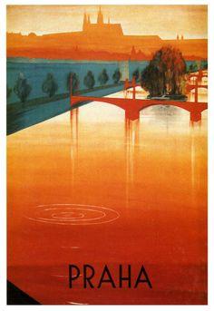La rivière Vltava, Prague. Praha.. vintage 1937 art deco poster voyage A1A2A3A4Sizes
