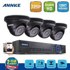 annke home surveillance security dome cameras system 720p 8ch dvr ahd hd cctv video - Home Video Security Systems