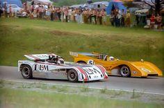 (5) Denny Hulme - McLaren M8F Chevrolet - McLaren Cars Ltd. - (1) Jackie Stewart - Lola T260 Chevrolet - Carl Haas Racing - Labatt Can-Am - Can-Am Mont-Tremblant - 1971 Canadian-American Challenge Cup, round 2