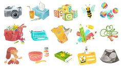 watercolor icons for hellobee