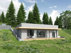 DOM.PL™ - Projekt domu DCE Z WIDOKIEM NA SŁOŃCE CE - DOM TK1-78 - gotowy koszt budowy Cottage Floor Plans, House Plans, Earth Sheltered Homes, Underground Homes, Dome House, Earth Homes, Natural Building, Earthship, Shipping Container Homes