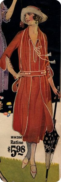 Orange 1922 dress from mail order catalog