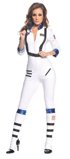 2c423173eb88 Blast Off Astronaut Adult Womens Costume White Nasa Space Aviator Halloween  Nasa Costume