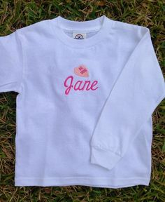 LONG SLEEVE T-SHIRT WITH PINK CONVERSATION HEART AND NAME - $22 www.Facebook.com/SocialMonograms