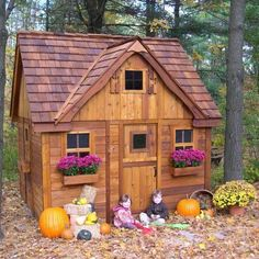 Outdoor Wooden Playhouse Cottage Design 9x9FT Cedar Play Room with Flower Boxes #OaklandLiving