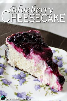 This light and fluffy #blueberry #cheesecake will leave you wanting more! This cheesecake has a chocolate cookie crust too!
