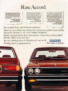 1979 Honda Accord my first car Retro Advertising, Vintage Advertisements, Vintage Ads, Honda Accord Lx, Honda Motors, Original Vintage, Honda Cars, New Honda, Japanese Cars