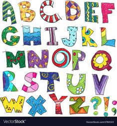 Abc kids funny alphabet vector 1764144 - by kamenuka on VectorStock® Alphabet Images, Abc Alphabet, Alphabet For Kids, Alphabet And Numbers, Doodle Alphabet, Hand Lettering Alphabet, Doodle Lettering, Letter Fonts, Fonte Alphabet