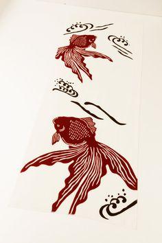 Tenugui japanese gold fish fabric Japanese by japanmomijidesigns