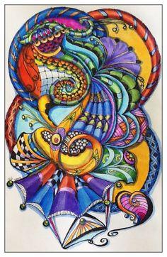 "Zen art doodle, zen art tangle - C DiTerlizzi 2013 ""Curves"""