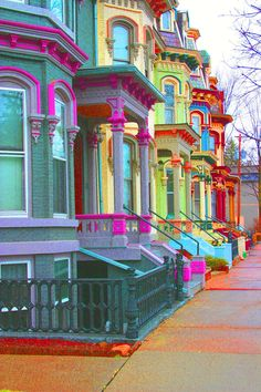 """Clinton Avenue in Saratoga Springs,  NY ~ I'd say these beauties give the world famous """"Painted Ladies"""" in San Francisco, a bit of a run for their money, eh?"""