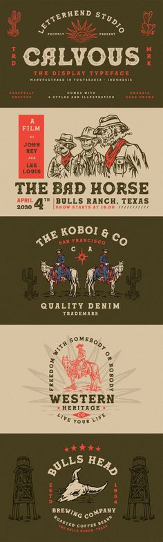 4 fonts in various styles which you can play around with it. Suitable for design needs with a touch of classic western. You will also get 17 hand drawing illustration pack and 6 logo template pack. Serif Typeface, Typography Logo, Saddle Tramp, Slab Serif, Logo Design, Graphic Design, Western Cowboy, Logo Templates, Rodeo