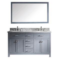 Virtu USA Caroline 60-in. Double Bathroom Vanity with Round Sink - MD-2060-WMRO-GR-001