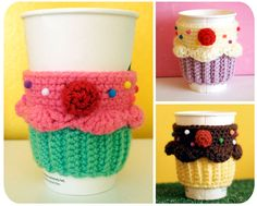 New Free-for-48hrs Crochet Pattern! Cupcake Coffee Cup Cozy