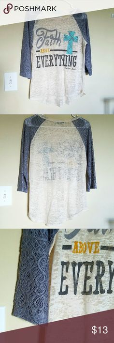 🌎Adorable Faith Top🌍 Lovely Cream colored lightweight top with gray 3/4 length lace sleeves.  You can really mix & pair this top with just about anything.  Make your statement in style. A size M, but can likely fit S-M.  Has a couple tiny spots on (L) side ftom ironing logo😮, last pic.  Price firm. Southern Grace Tops Blouses