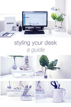 Easy ideas for styling and decorating your desk in a minimal / simple way - http://muchelleb.com/decorate-your-workspace/