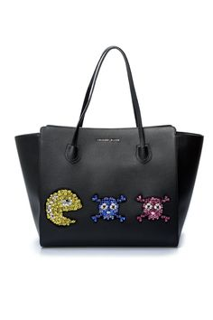 "Spacious and fashionable, Philipp Plein's ""Let's play"" shopping bag will take you from the office to the restaurant. Crafted from luxurious calf leather and featuring Swarovski-embellished emoticon appliques, this fashionable piece is a must-have item to"