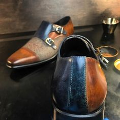 Tweed & patina on these dubmonks by @bespoke factory . #patinaconcept