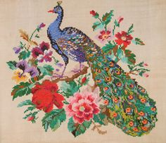 cross stitch peacock