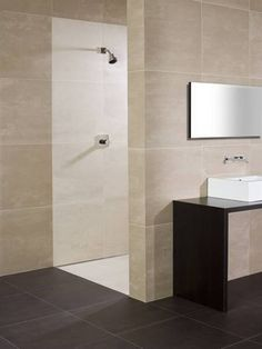 Explore pictures of stylish beige bathroom for inspirational design ideas on your own bathroom remodel project from top designers FREE! Beige Bathroom, Grey Bathrooms, Modern Bathroom, Small Bathroom, Wood Bathroom, Bathroom Remodel Cost, Shower Surround, Modern Shower, Family Bathroom