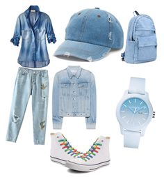 """Baby blue"" by racheldenisnefeke on Polyvore featuring Converse, rag & bone, Mudd and Lacoste"