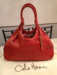 Cole Haan Genevieve Mint! Woven Leather Hobo Satchel Handbag Spicy Orange Red Orange Brown Golden Brown Tote Bag. Get one of the hottest styles of the season! The Cole Haan Genevieve Mint! Woven Leather Hobo Satchel Handbag Spicy Orange Red Orange Brown Golden Brown Tote Bag is a top 10 member favorite on Tradesy. Save on yours before they're sold out! GORGEOUS!!! BEAUTIFUL SPICY ORANGE COLOR!!! MINT CONDITION!!! SALE!!! WOW!!!